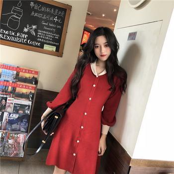 2019新款春裝針織復古法國小眾連衣裙-紅-S